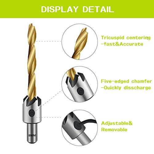 7PCS Countersink Drill Bit, Mgtgbao Titanium Plating Drill Bit Set Wood Drill Set Woodworking Countersink Chamfer, with One Hex Wrench for Wood Drilling or Woodworking Chamfer, 3-10mm Screw Size. by Mgtgbao (Image #6)