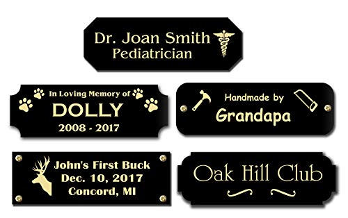 Gloss Black Brass Nameplate Personalized Custom Laser Engraved Sign Tag Notched Square or Round Corners Choose Your Size and Text Gold Text (Ideas Memorial Benches For Plaques)