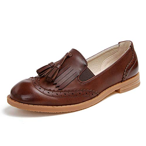 Slip on Women Oxfords Tassels Oxford Shoes for Women Round Toe Flats Loafers Handmade Leather Brogues Shoes Woman,Brown Oxfords,6