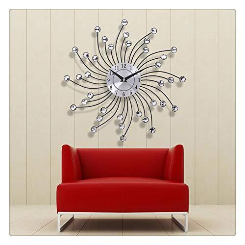 ninepaipai 33cm Modern Design 3D Large Wall Clock Metal Crystal Modern Home Decoration Silent Clocks for Living Room Office Wall Clocks
