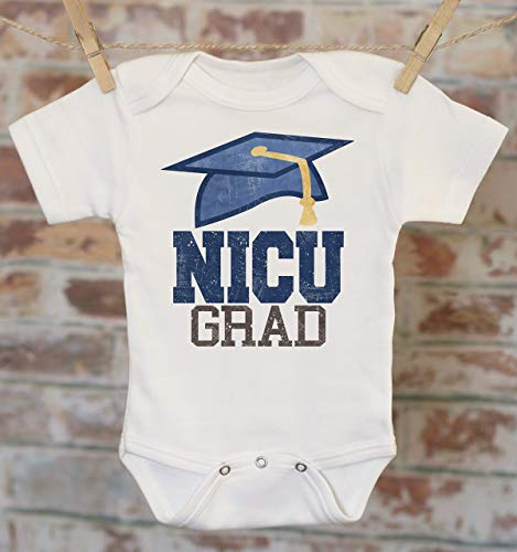 07a860d3a Amazon.com: Blue NICU Grad Onesie®, Preemie Baby Clothes, NICU Graduate,  Baby Shower Gift, Coming Home Outfit, Take Home Outfit: Handmade