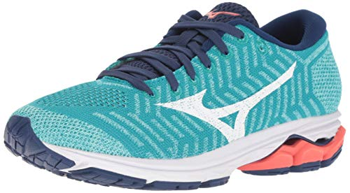 79f1e3ad044b Mizuno Women's Wave Rider 22 Knit Running Shoe, Peacock Blue-Fiery Coral,  8.5 B US
