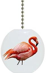 Carolina Hardware and Decor 2308F Beautiful Pink Flamingo Solid Ceramic Fan Pull