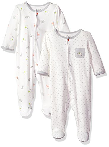 Little Me Baby 2 Pack Footies, White/Multi, 3 Month