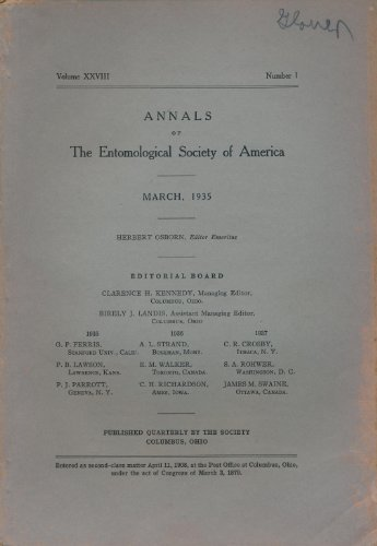 Annals of the Entomological Society of America. Volume 28, Complete. (Annals Of The Entomological Society Of America)