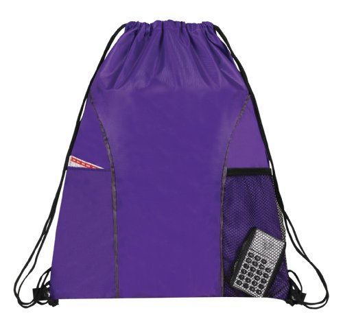 Dual Pocket Drawstring Backpack Bag (Purple)