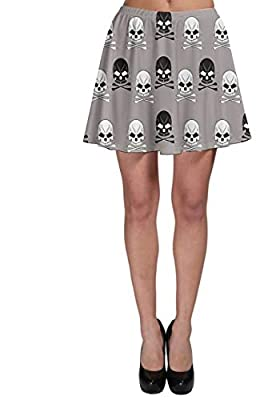 CowCow Women's Printed Skirt Gray Pattern Skulls Skater Skirt