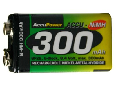 10 X 9 Volt 300 Mah Accupower Nimh Rechargeable Batteries by AccuPower