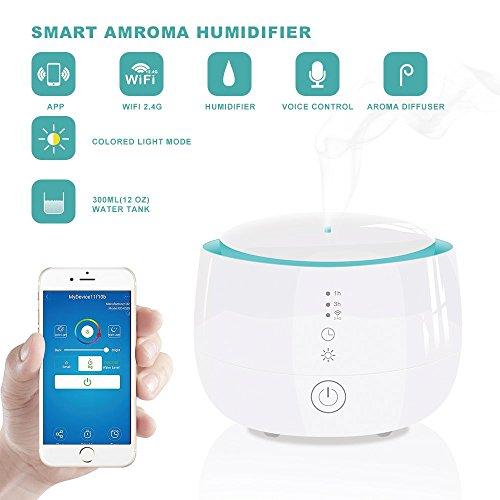 Difusor de aceite esencial de WiFi 300ml para aromaterapia con modos de niebla ajustables Humidificadores, difusores de aroma ultrasónico con apagado ...