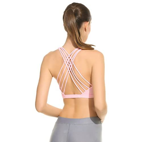 Wholesale Ekouaer Womens Support Crossback Wirefree Removable Cup Workout Yoga Sports Bra for cheap