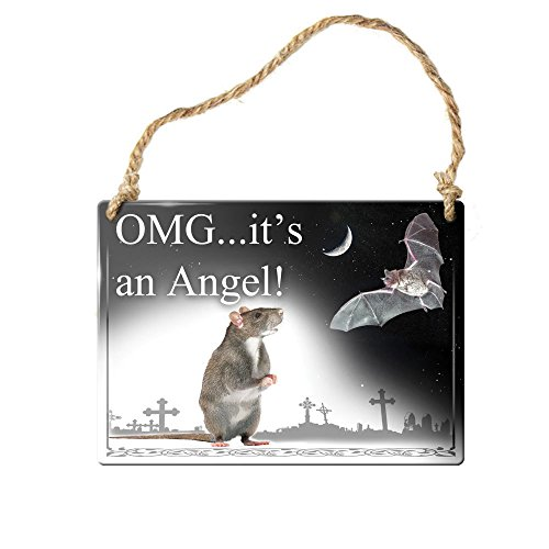 Gift Wrapping Supplies Gothic Victorian Small Hanging Sign OMG It's An Angel Rat And Bat In Moonlight