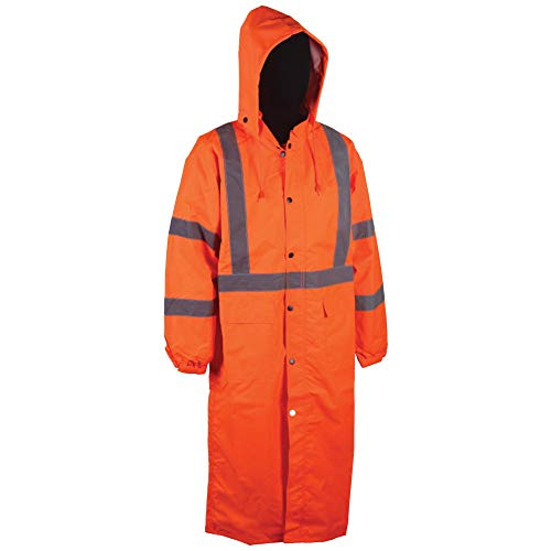 Men and Women Waterproof with Detachable Hood Work Safety Ansi Class 3 (3XL, Orange, 1 Piece) ()