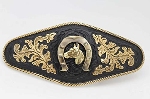 Men Western Fashion Belt Buckle Gold Rodeo Horse Bling Horseshoe Filigree Strong ()