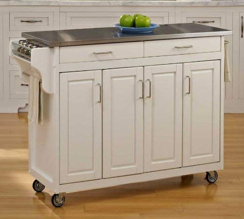 Create-a-Cart White 4 Door Cabinet Kitchen Cart with Stainless Steel Top by Home Styles