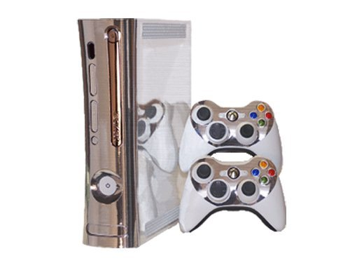 Brushed Silver - Air Release Vinyl Decal Faceplate Mod Skin Kit for Microsoft Xbox 360 Console by System Skins