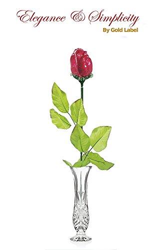 Godinger 8 Inch Crystal Bud Vase with Long Stem Madeline Milk Chocolate Rose Gift Set - Hand Crafted Crystal Flower Vase Home Adornment Gift Set for Valentines Day, Weddings and Anniversaries (Vase Roses Bud)