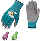 Vgo... 3Pairs Age 5-7 Kids Gardening,Lawing,Working Gloves,Foam Rubber Coated(Size XXS,3 Colors,KID-RB6013)