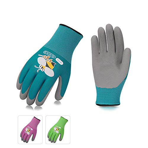 (Vgo 3Pairs Age 7-9 Kids Gardening,Lawning,Working Gloves,Foam Rubber Coated(Size XS,3 Colors,KID-RB6013))