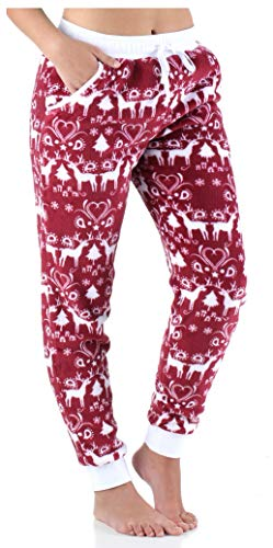 - Frankie & Johnny Women's Sleepwear Fleece Pajama PJ Pants, Cranberry Winter (FJ1009-1052-LRG)