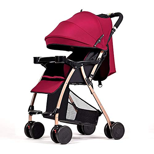 MWPO Stroller Can Be Folded to Sit Reclining Baby Umbrella Built-in Shock Absorber Newborn Child Baby Stroller Can Go On The Plane with Parasols 48 65 105cm (Color : RED)