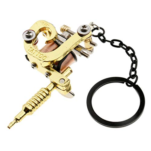 NATFUR 1PC Premium Alloy Tattooing Gun Mini Tattoo Machine Key Chains Key Ring Pretty Novelty Key-Chain for Women for Men Perfect for Girls for Gift | Style - Gold 2