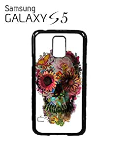 Skull Flower Art Peace Mobile Cell Phone Case Samsung Galaxy S5 Black