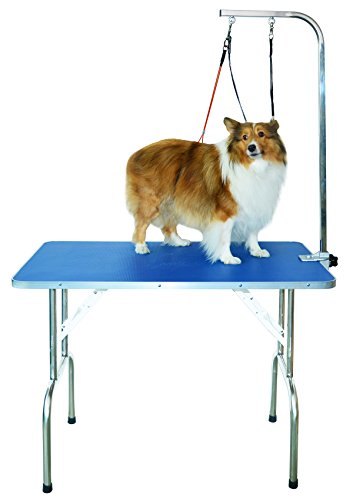 - SHELANDY Professional pet Grooming Table with Double leashes and clamp for Large and Medium Dogs (Medium)