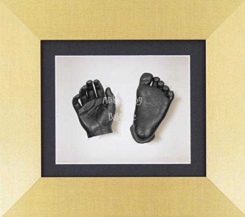 BabyRice 3D Baby Boy Casting Kit Brushed Gold Frame Pewter Foot Casts