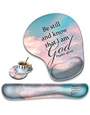Ergonomically Upgraded Keyboard Wrist Rest and Comfortable Wrist Rest Gel Mouse Pad Set, Non-Slip Rubber Base and Cute Coaster, for Work, Game Home, Quoting Psalm 46:10