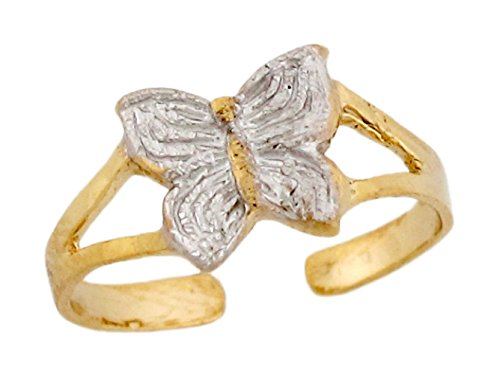 Two-Toned Real 10k Gold Cute Sparkle Butterfly Ladies Toe Ring by Jewelry Liquidation (Image #1)