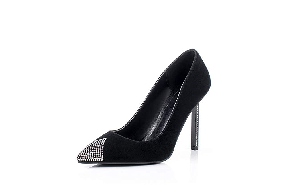 Black Nine Seven Women's Suede Leather Pointed Toe Stiletto Heel Handmade Glossy and Comfortable Spring Summer Pumps shoes