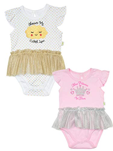 (Duck Duck Goose Newborn Girls' One Piece Knit Creeper Bodysuit with Tulle Tutu Skirt (2 Pack), Cloud/Crown, Size 6-9 Months')