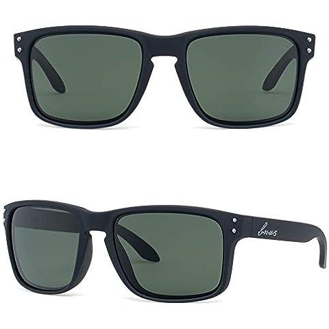 2e140d270e5 BNUS corning natural glass lenses Polarized sunglasses for men (Black  Rubber Polarized Green G15