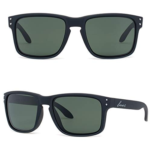 BNUS corning natural glass lenses Polarized sunglasses for men (Black Rubber/Polarized Green G15, Polarized Size:56mm(M)) ()