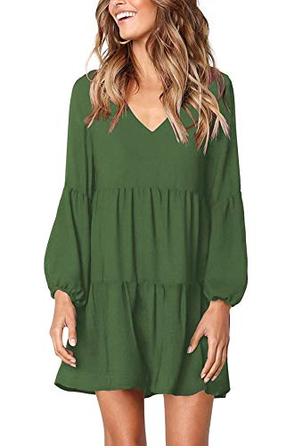 - Women Vintage 1950s Retro Rockabilly Prom Dresses Full-Sleeve Club Dress Olive Green X-L