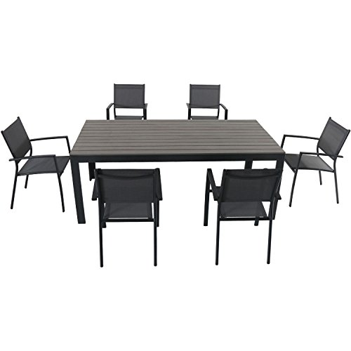 Hanover TUCSDN7PC-GRY Tucson (7 Piece) Dining Set, Gray Outdoor Furniture (Outdoor Patio Tucson Furniture)