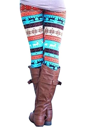 Womens Snowflake Reindeer Patterned Christmas Leggings Turquoise Free Size