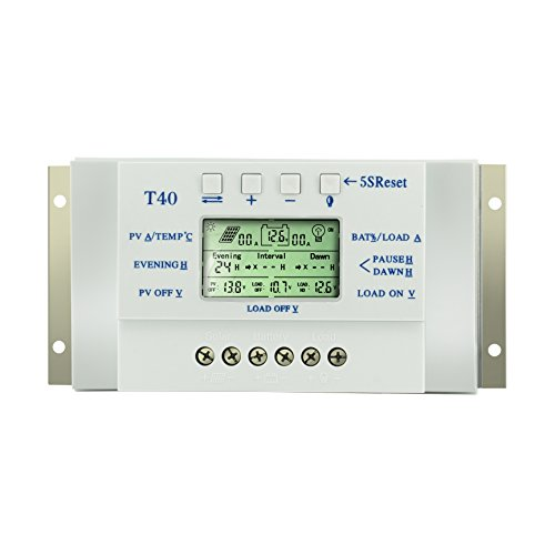 40a Solar Charge Controller, Solar Panle Controller Dual Timer with LCD Display For 12V/24V Solar Panel with 5V Mobile Charger and Usd for Control Light and Water Feature by Y-SOLAR