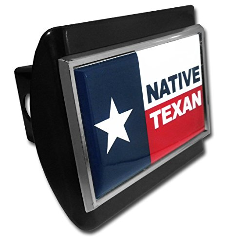 Texas (Native) Flag ALL METAL Black Hitch Cover