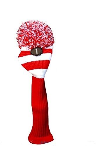 (Red White Golf Headcover New MAJEK #1 Fits 460cc OS Oversized Long Neck Driver Knit Pom Pom Retro Classic Vintage Longneck Golf Clubs Head cover)