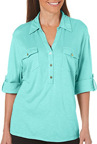 Coral Bay Petite Solid Button Placket Roll Tab Sleeve Top Large Petite Pool Blue