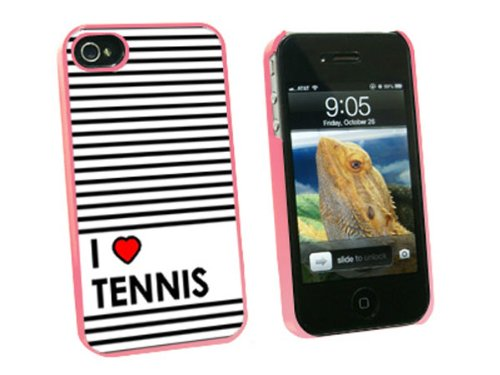 Graphics and More I Love Heart Tennis Snap-On Hard Protective Case for Apple iPhone 4/4S - Non-Retail Packaging - Pink