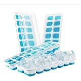Ice Cube Trays - Silicone Base with lids, Blue, BPA Free Food Grade (4)