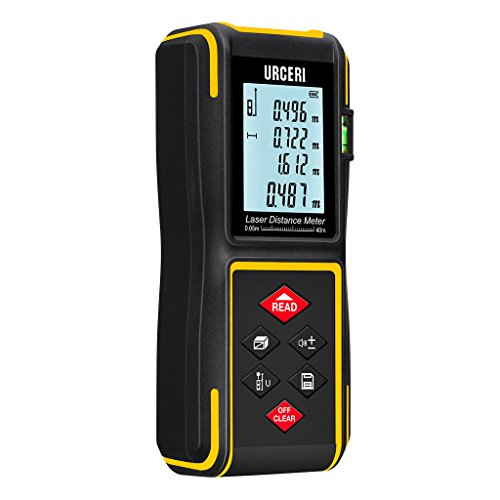 URCERI 40m Laser Distance Meter with Bubble Level and Batteries IP54...
