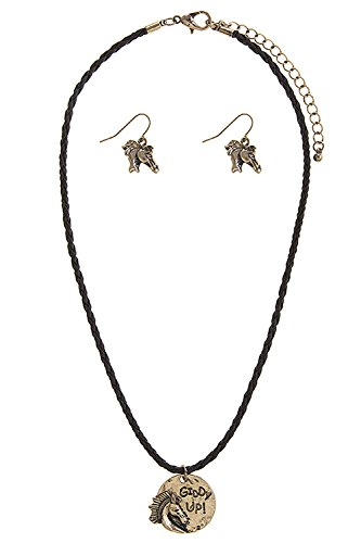 Giddy Up Horse Costume (TRENDY FASHION JEWELRY GIDDY UP HORSE BRAIDED PENDANT NECKLACE SET BY FASHION DESTINATION | (Antique Gold))