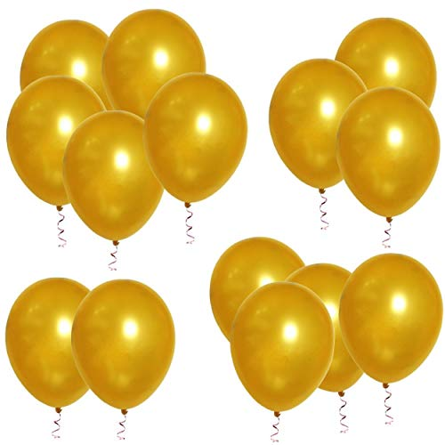 Pack of 100 Balloons for Party Wedding Theme Decoration Arch Supplies, 10 Inch (Gold)