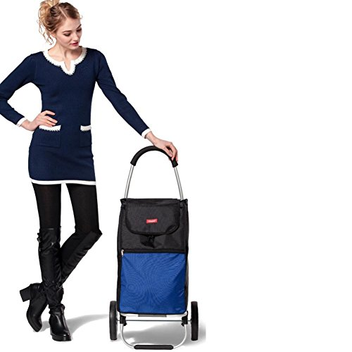 LUCKYYAN 55L Lightweight Shopping Trolley with Seat, Hard Wearing & Foldaway for Easy Storage , blue by luckyyan (Image #8)