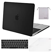 Mosiso MacBook Pro 15 Case 2017 & 2016 Release A1707, Plastic Hard Shell with Keyboard Cover with Screen Protector with Storage Bag for Newest MacBook Pro 15 Inch with Touch Bar, Black