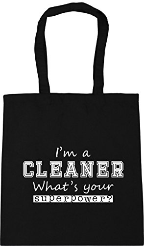x38cm a Black 10 Beach Gym litres Your Shopping Cleaner HippoWarehouse I'm What's 42cm Superpower Tote Bag 5wqZ7Z