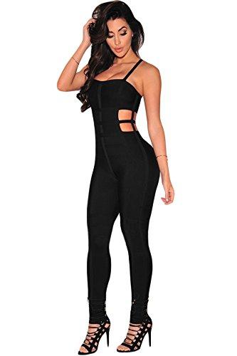 Femmes Noir étroite Fighting Bandage Combinaison Clubwear Vêtements Taille M UK 10–12–EU 38–40